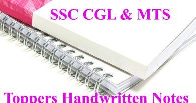 SSC CGL Toppers Handwritten notes
